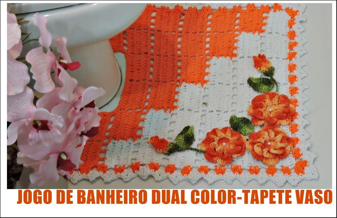 Jogo de banheiro dual color tapete vaso diane gon alves for Tapetes de crochet