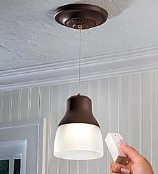 Exceptionnel Remote Controlled, Battery Operated EZ Adjustable Pendant Light   Above The  Kitchen Sink