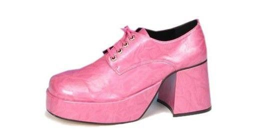 bcdce04f450 Mens 70s Style Pink Platform Disco Costume Shoes 12-13