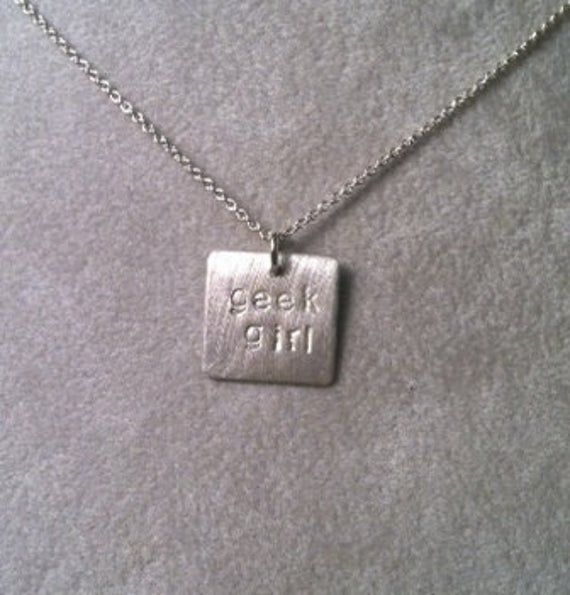 geek girl  or nerd girl pendant — geek girl collection — sterling silver