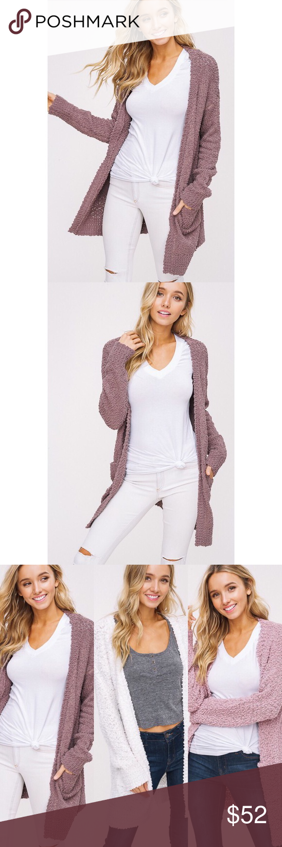 � Polly Popcorn Chunky Cardigan - Mauve You'll never want to take off this dream of a cardigan! Features a soft popcorn texture, drop shoulder with long sleeves, 2 front pockets. 100% Acrylic. �ALSO AVAILABLE IN IVORY AND MAUVE� likeNarly Sweaters Cardigans