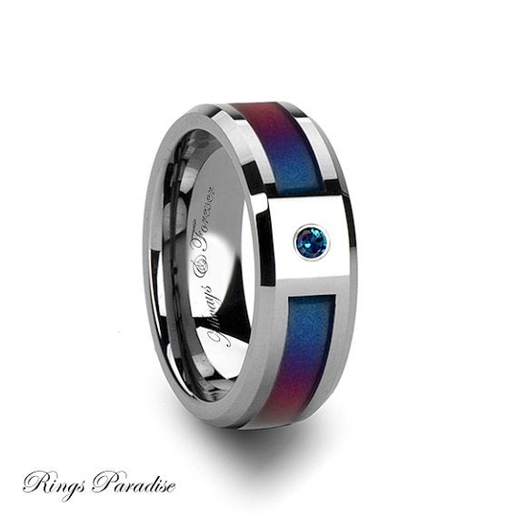 8mm Personalized Tungsten Carbide Ring With Blue Purple Color