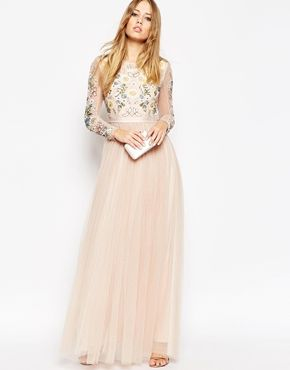 2f779f23d2 Needle   Thread Backless Sheer Sleeve Tulle Embellished Maxi Dress Vestido  Tul