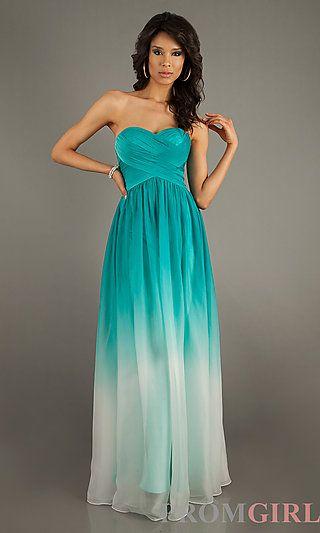 d6d2d725619 Long Strapless Ombre Gown by La Femme 17004