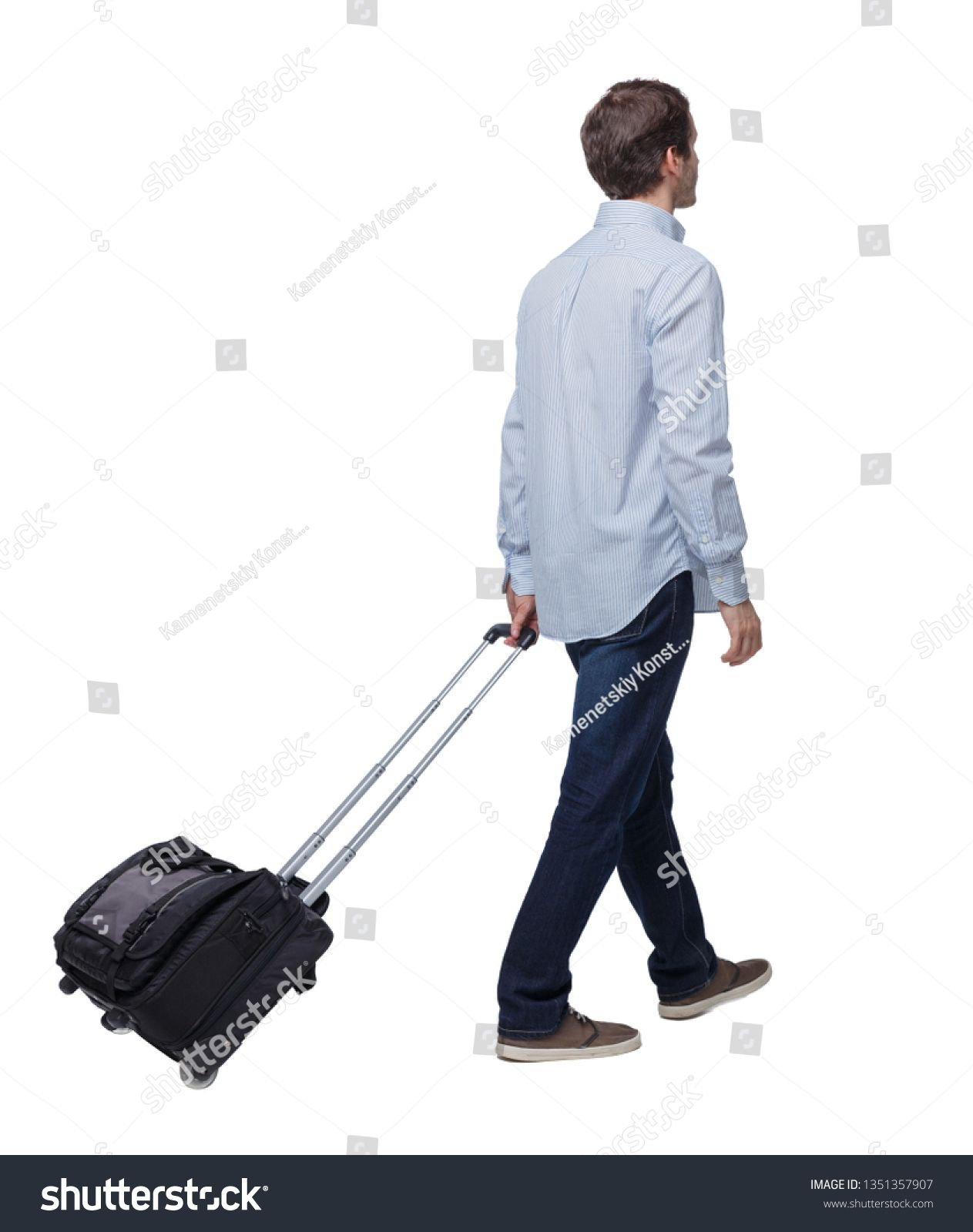 Back View Of Walking Business Man With Suitcase Brunette Guy In Motion Backside View Of Person Rear View People Coll Business Man Photo Editing Stock Photos