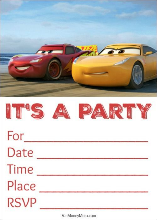free printable cars invitations cars