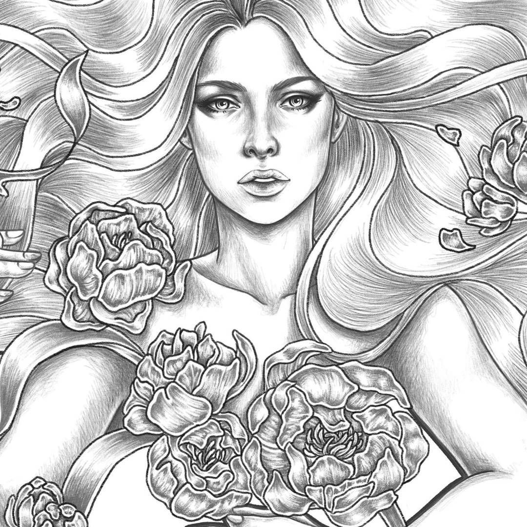 Another Day Another Wip Of A Girl With Flowers Procreate Apple Digital Digitalart Girls With Flowers Fairy Coloring Fairy Coloring Pages