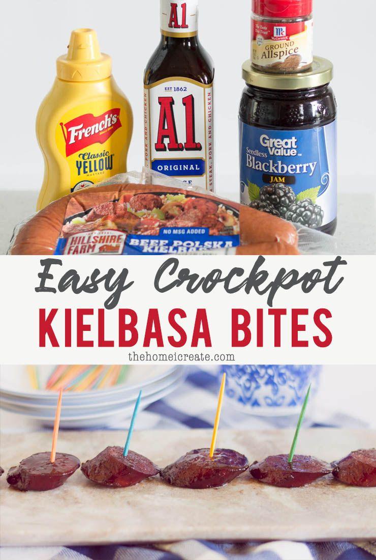 5 Ingredient Slow Cooker Kielbasa Bites - The Home I Create #gamedayfood