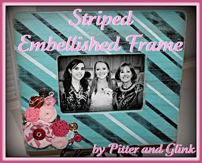 diy Striped, Embellished Frame - Antiqued and bedazzled ...