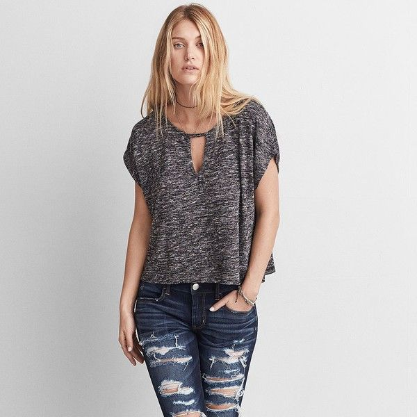 AE Feather Light Keyhole T-Shirt ($35) ❤ liked on Polyvore featuring tops, t-shirts, grey, key hole top, american eagle outfitters, grey top, grey tee and scoop-neck tees
