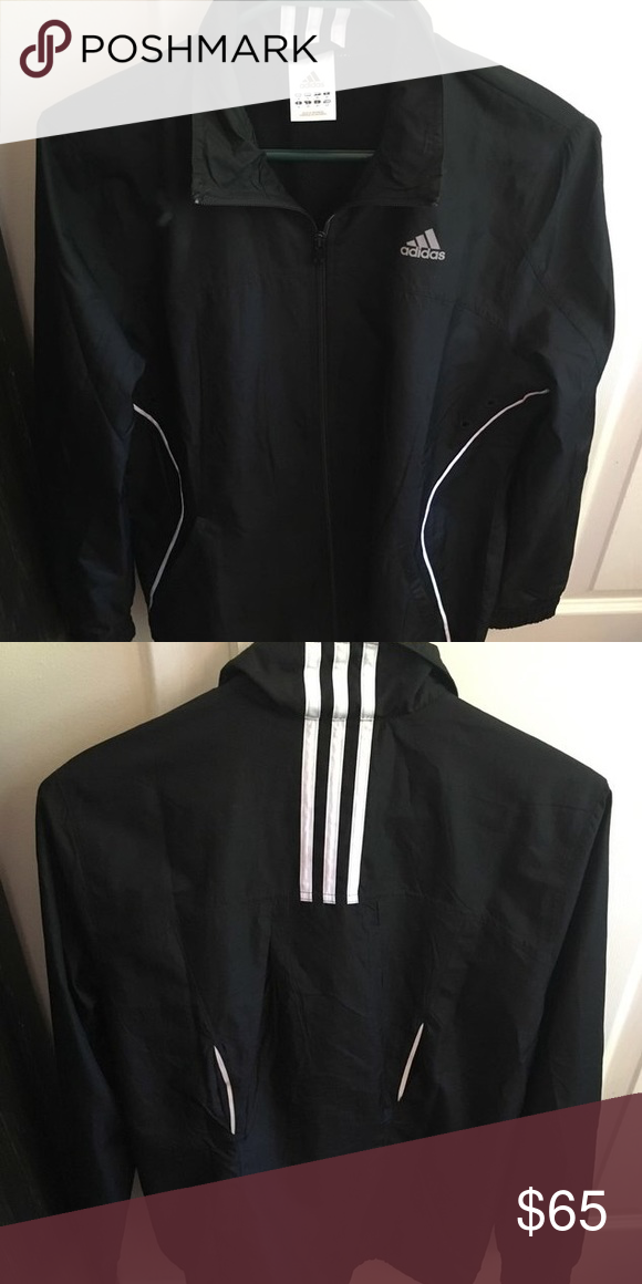 Adidas black windbreaker very cute and nice with a pair of ripped jeans! but i only like hooded windbreakers! Adidas Tops Sweatshirts & Hoodies