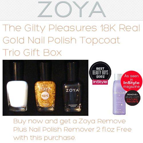 Zoya The Gilty Pleasures 18K Real Gold Nail Polish Topcoat Trio Gift ...