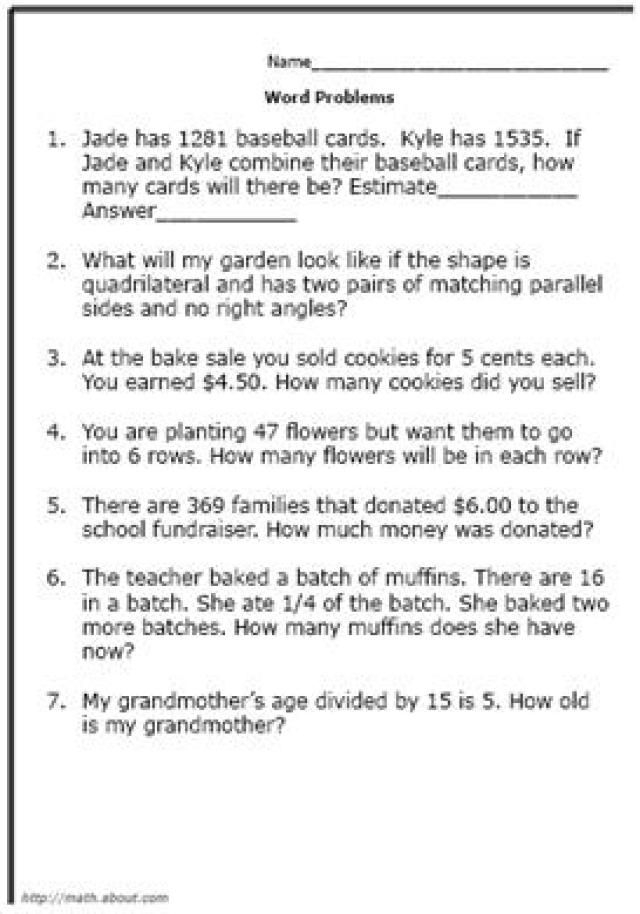 Printable Worksheets printable word problem worksheets : Practice Your Elementary Math Skills With These Word Problems ...