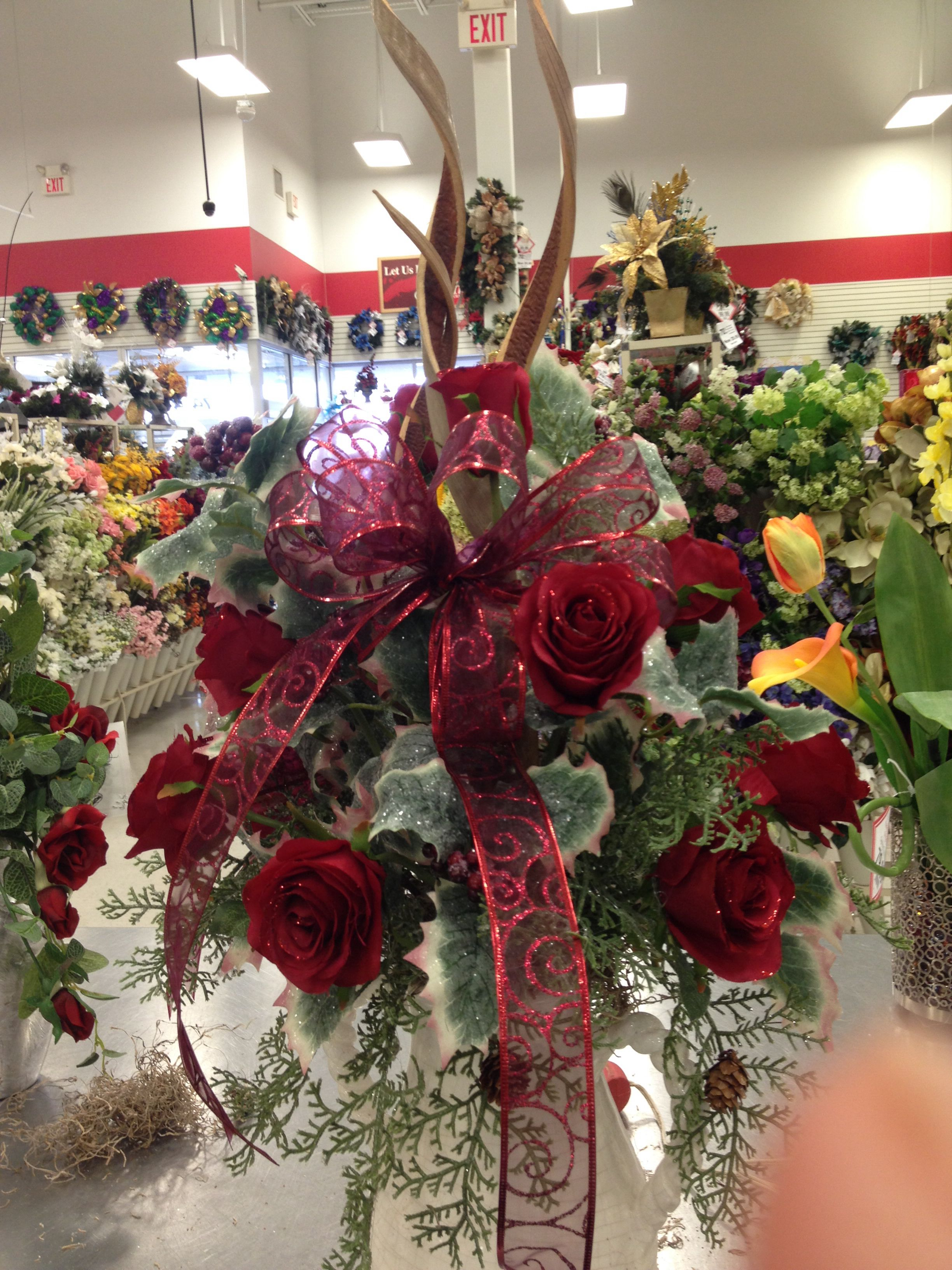 Custom Cemetery Cone Cemetery Flowers Flower Arrangements Christmas Decorations