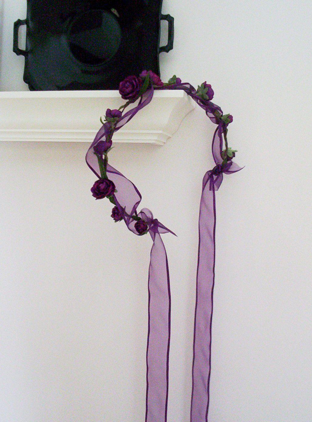 Purple Pasion Flower Crown Renaissance Head Wreath Bridal Gothic