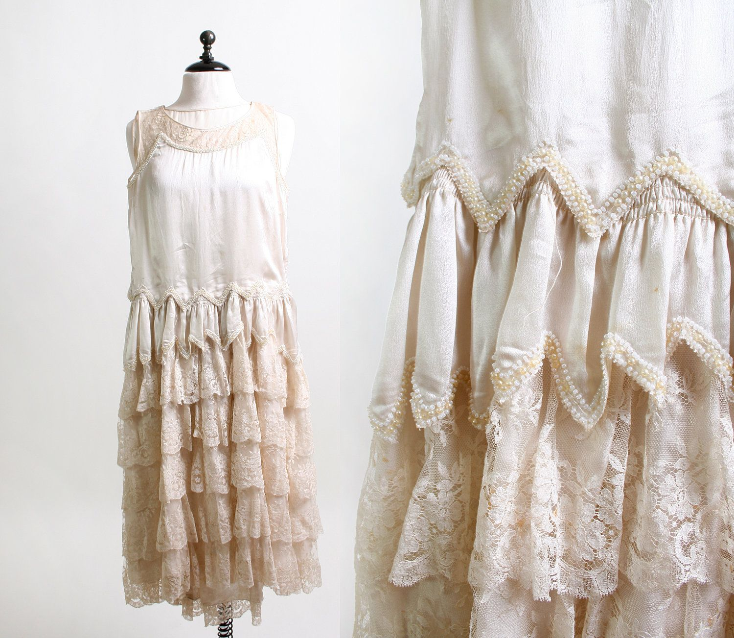 White lace dress vintage  Vintage s Wedding Dress  Cream Lace and Faux Pearl Mini Flapper