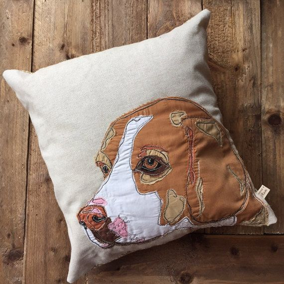 Beagle Portrait tan & white embroidered Square by BeaglenThread