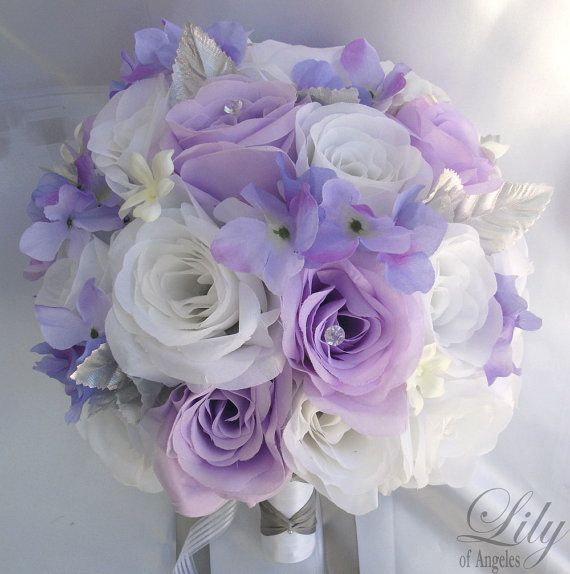 Purple And White Wedding Flower Bouquets: Wedding Bouquet, Bridal Bouquet, Bridesmaid Bouquet, Silk