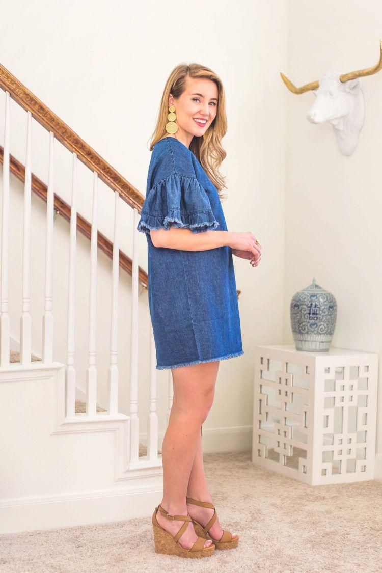 35 Denim Ruffle Sleeve Dress A Lonestar State Of Southern Denim Dress Outfit Ruffle Sleeve Dress Dresses [ 1125 x 750 Pixel ]