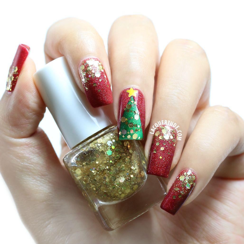 Tutorial: Christmas Snowflake and Tinselled Tree Nail Art | Lacquertude