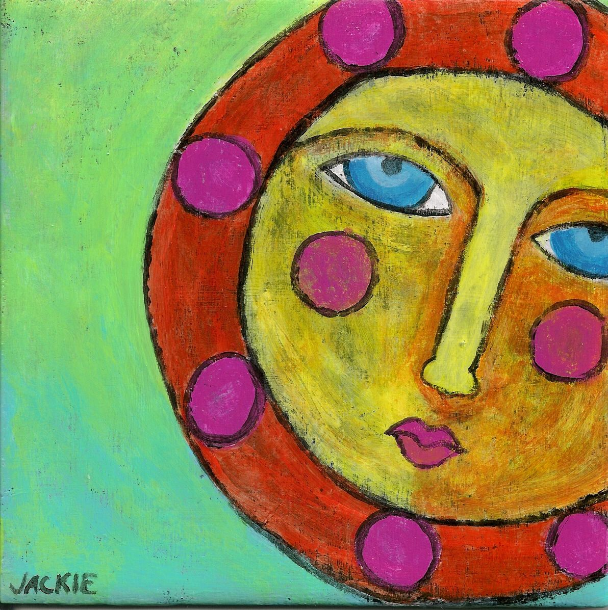 Hand Painted Ceramic Art Tile Abstract Painting Of The Sun on Luulla ...
