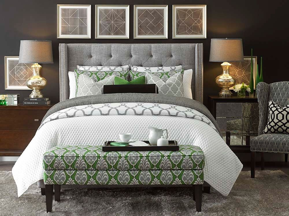 Transitional Master Bedroom With Bassett Furniture Metro Terrace Gray Duvet Cover Bassett