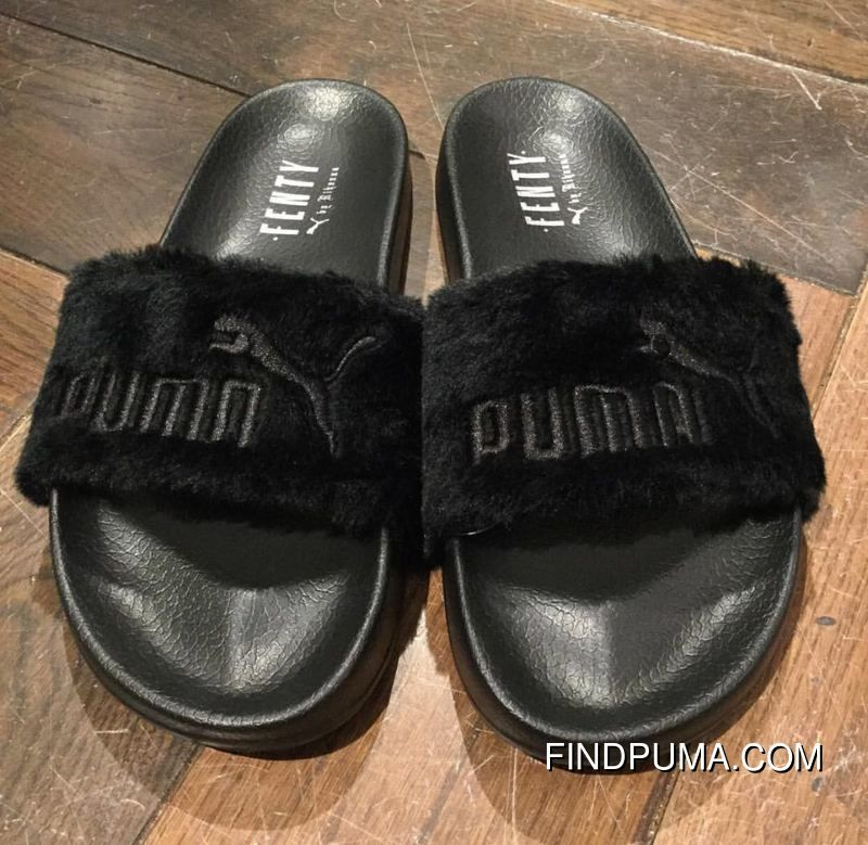 82d78e6f1004 PUMA BY RIHANNA LEADCAT FENTY Black Slippers Fur Slide in 2019 ...