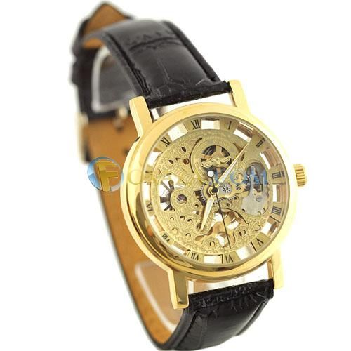 Mechanical watch with a glass face and cover - Free shipping - Foxaza.com