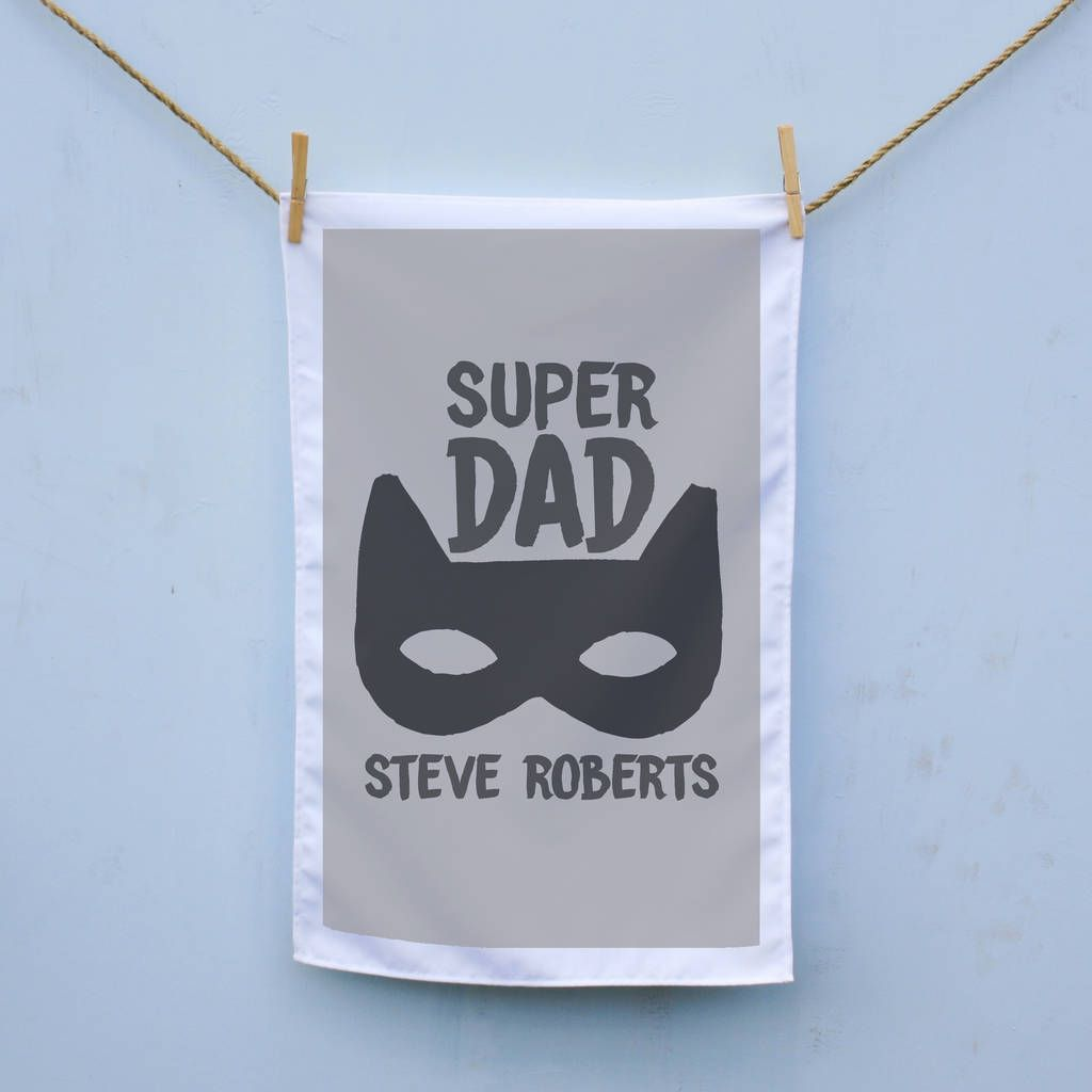 Personalised Super Dad Tea Towel