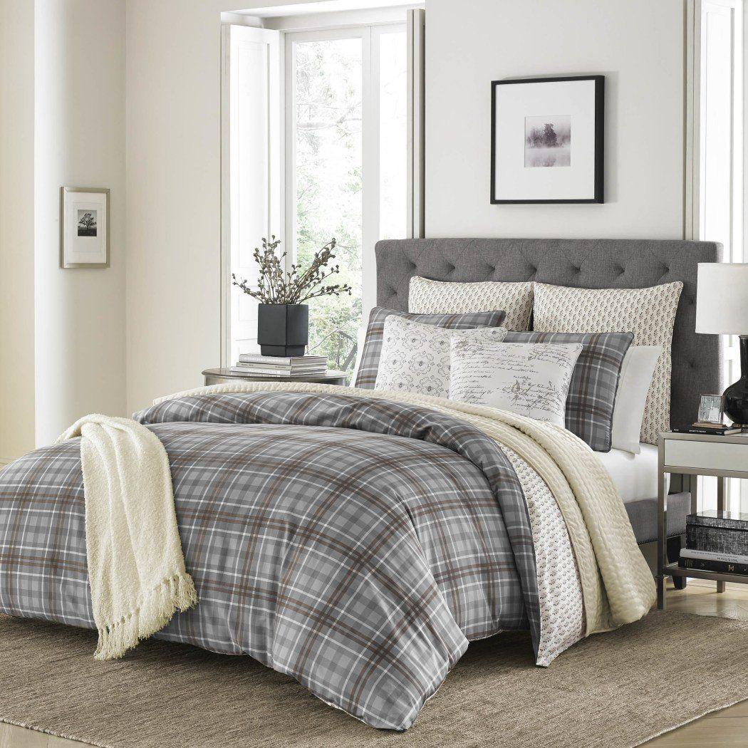 Grey Plaid Twin//Twin XL Duvet Cover Set Vibrant Gray Lumberjack Cabin Country