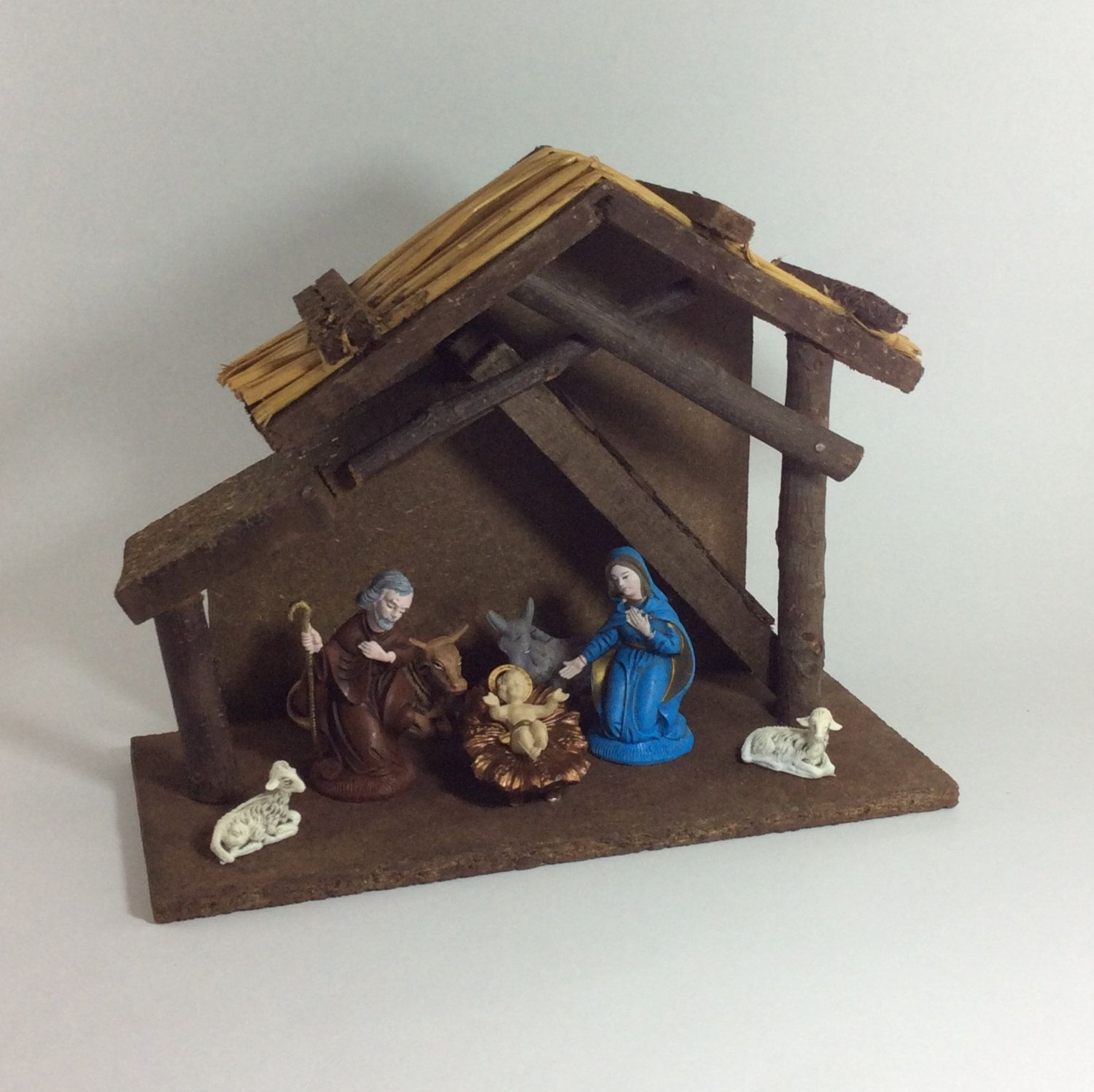 Vintage Wood Nativity Stable Creche Manger Set Christmas Religious Decor