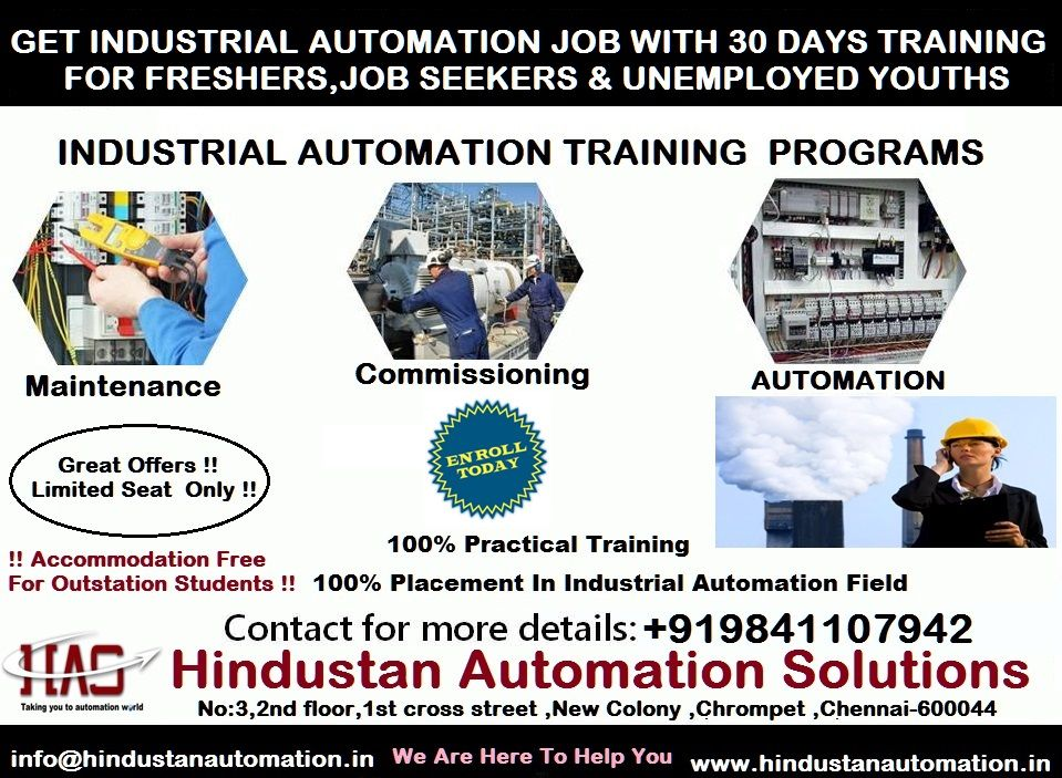 GET INDUSTRIAL AUTOMATION JOB WITH 30 DAYS TRAINING FOR