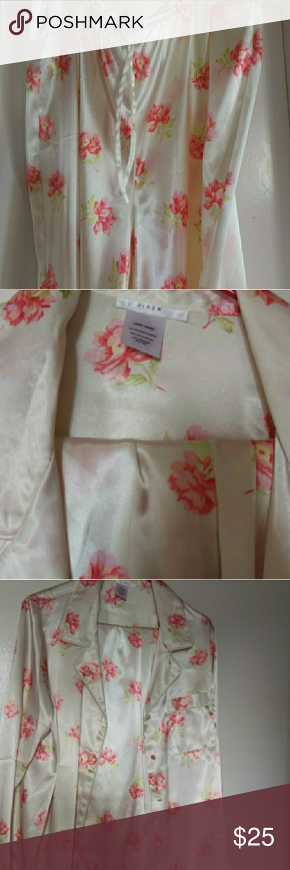 46235d0931 Pink satin pajama pants set Pink by Kmart button down champagne colored  satin pajama set with pink flowers size large pink by kmart Intimates    Sleepwear