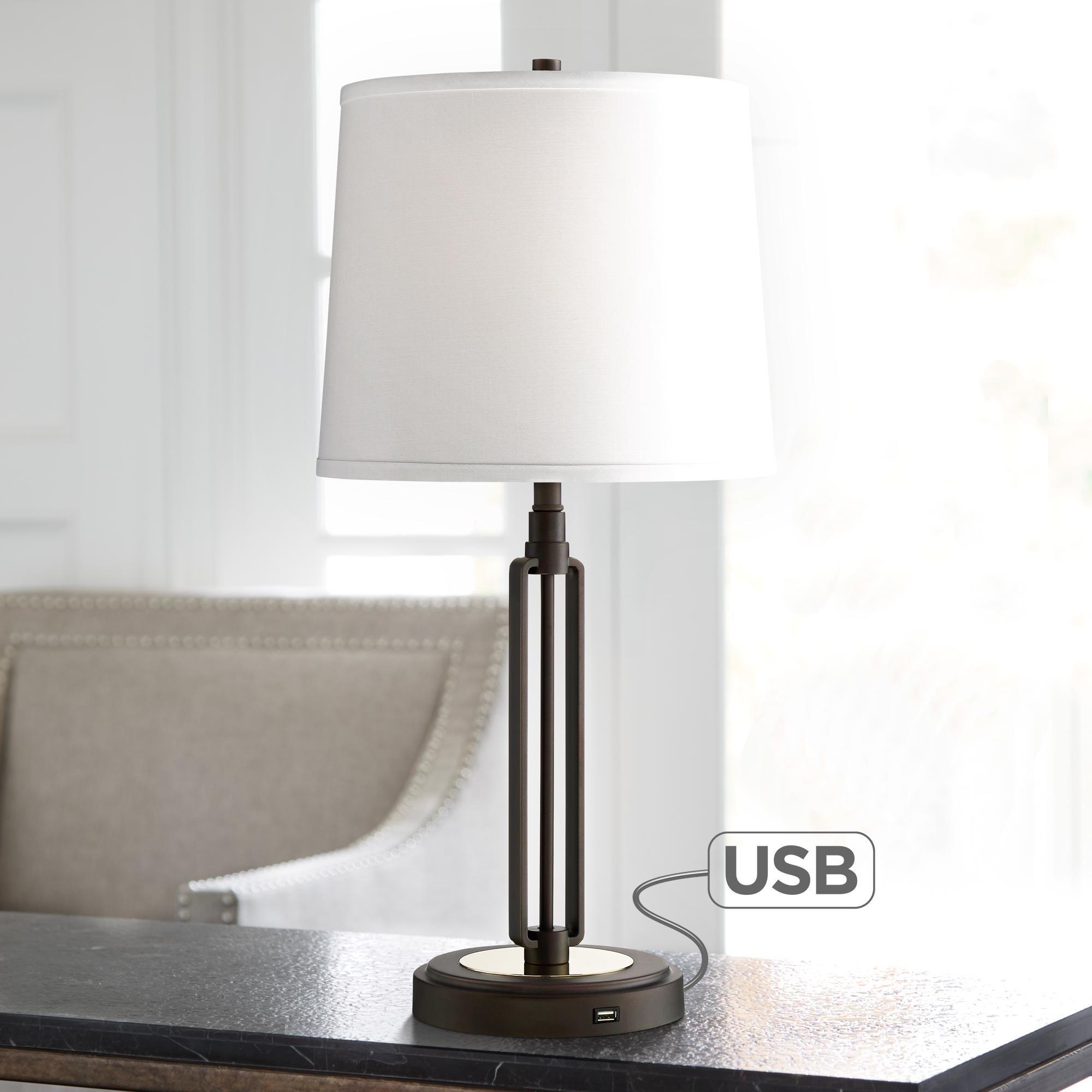 Franklin Iron Works Javier Bronze Table Lamp With Usb Port Dengan