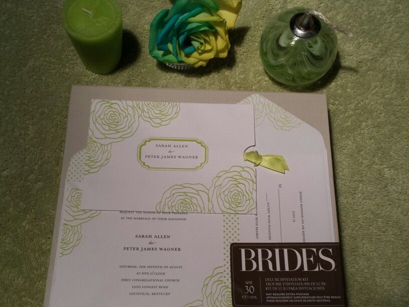 BRIDES spring green deluxe wedding invitation kit 30 count: invitations, response cards, with matching envelopes, and pre-cut ribbons