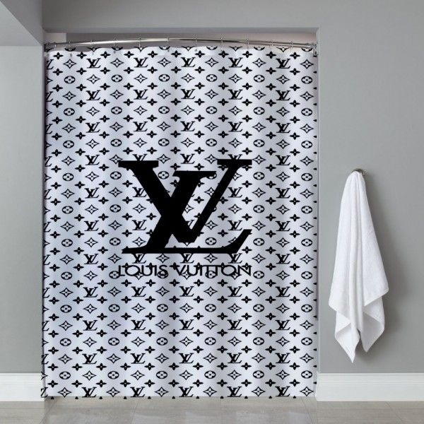 Louis Vuitton White Black Shower Curtain