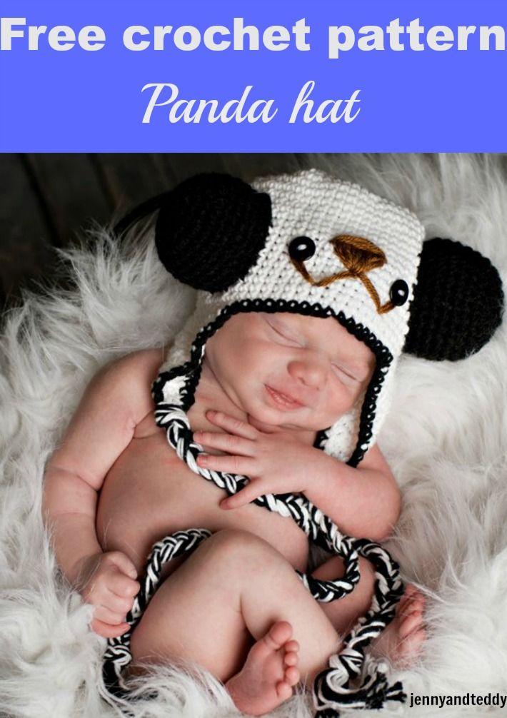 crochet panda hat-free pattern | ole | Pinterest | Gorros
