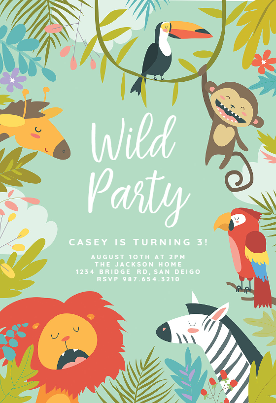 Wild Animals Birthday Invitation Template Free Greetings Island Animal Birthday Invitation Birthday Invitations Kids Animal Party Invitations