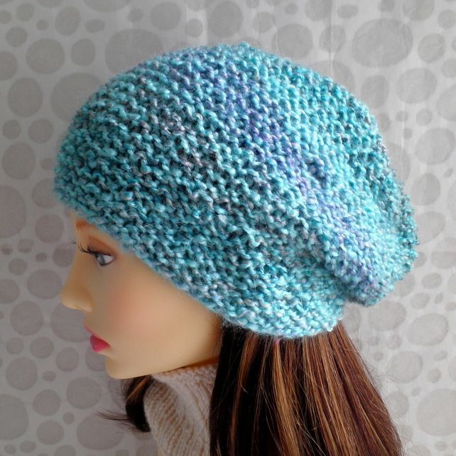 "HAT PATTERN for ""Ocean"" Slouchy Knit Womans Hat EASY ..."