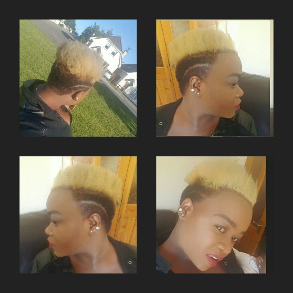 Natural afro hair blonde under and side cut