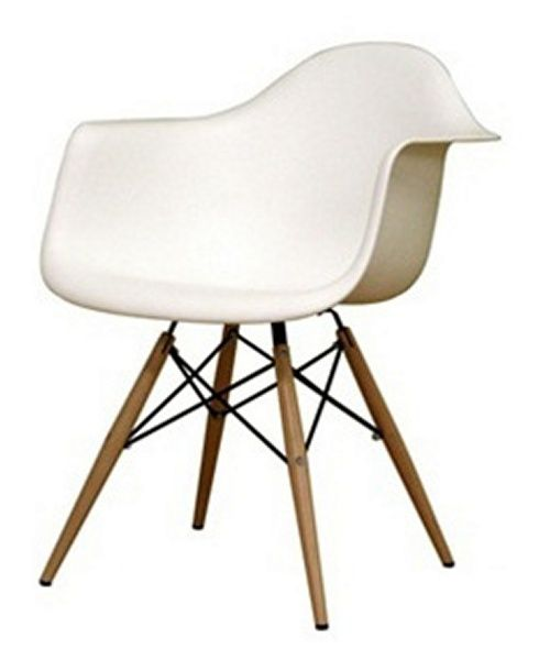 Wood Leg White Bucket Seat Dining Arm Chair Chairs At Hayneedle