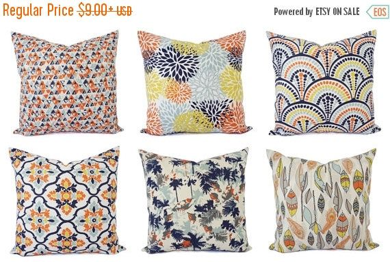 40% OFF SALE Orange Blue Pillow Cover Orange Pillow Cover Navy Amazing Orange And Blue Decorative Pillows