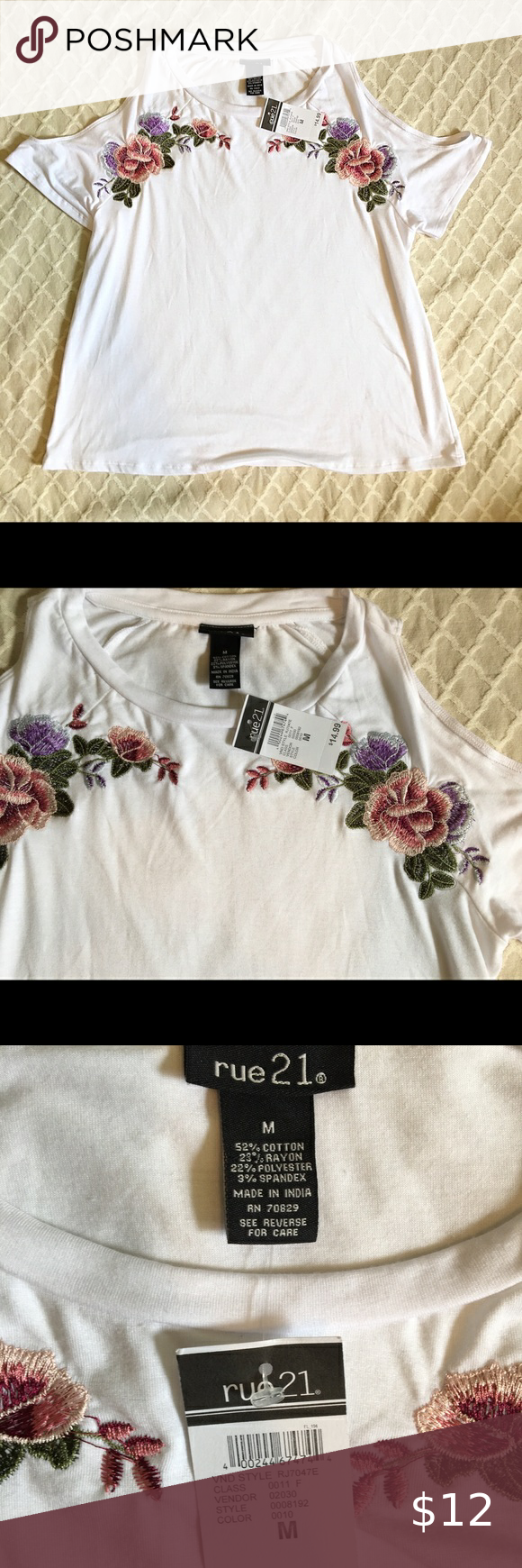 Photo of Rose embroidered top size Medium NWT cold shoulder top with …