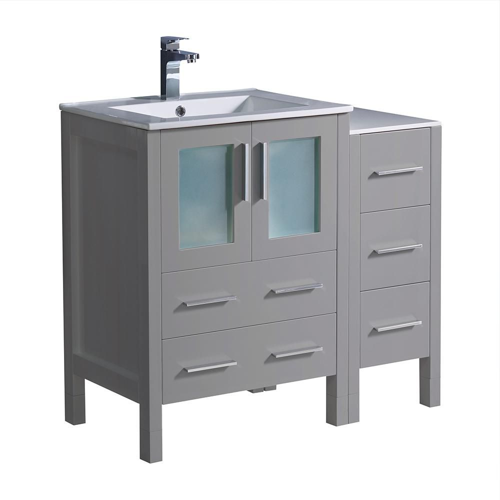 Fresca Torino 36 In Bath Vanity In Gray With Ceramic Vanity Top In White With White Basin With Side Cabinet Fcb62 2412gr I The Home Depot Modern Bathroom Cabinets Grey Bathroom Storage Single [ jpg ]