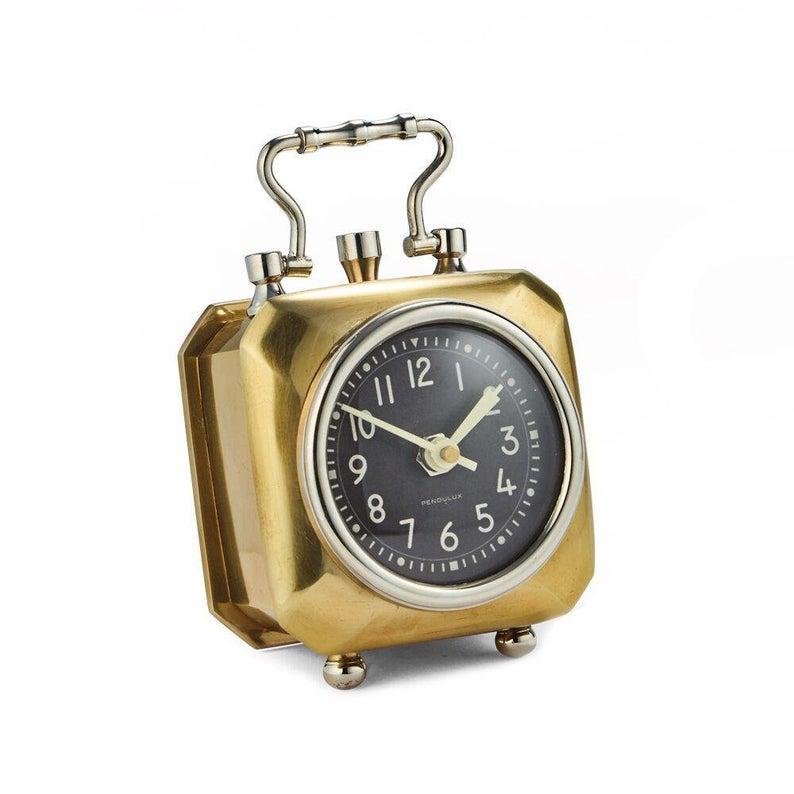 Annette Table Clock Brass Black Dial Desk Clock Etsy