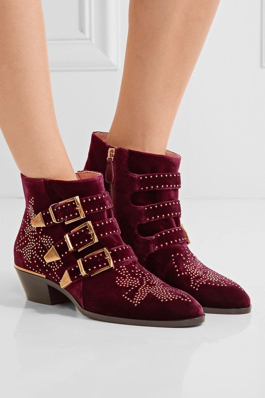 0e6ffc42e4 Chloé | Susanna studded velvet ankle boots | NET-A-PORTER.COM ...