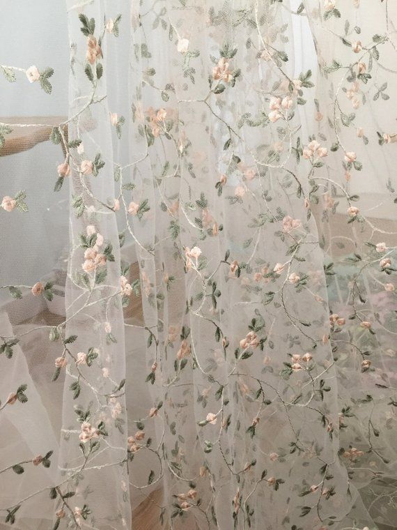 Floral Embroidery Tulle Lace Fabric With Light Green Pink Leaf