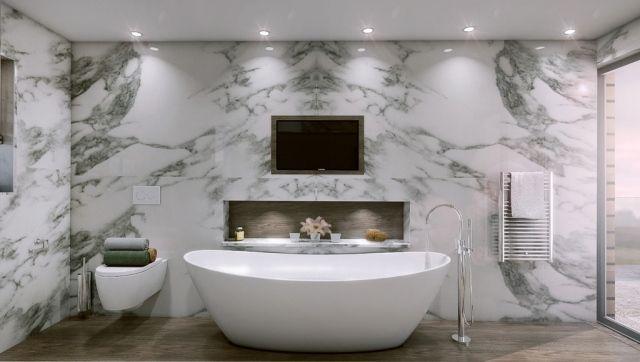 luxus badezimmer freistehende badewanne marmor wand verkleidung ... | {Badewanne freistehend an wand 77}