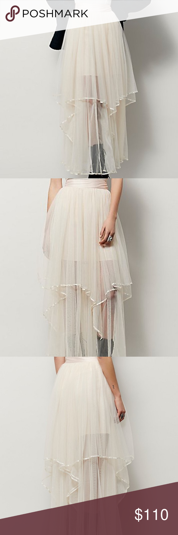 8d6334948 NWT FREE PEOPLE KEEP ME TUTU MAXI SKIRT Tutu inspired double layered maxi  skirt featuring a silky trim and waistband. Hidden side zip closure with a  ...