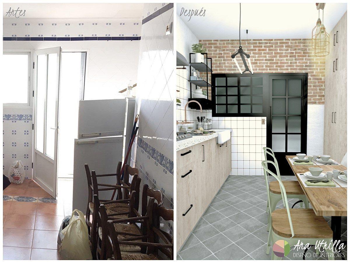 Antes y después del diseño de cocina en Ciudad Real de estilo ...